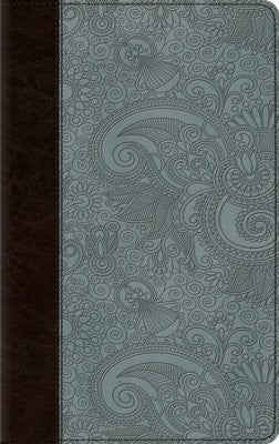 ESV Thinline Bible-Chocolate/Blue Garden Design TruTone