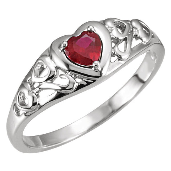 14kt White 4mm Heart Openwork Ring Garnet Heart of Love