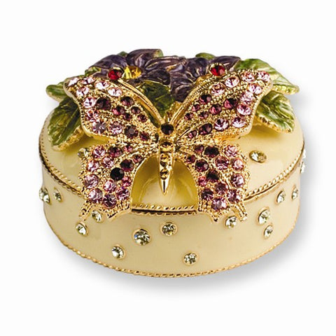 Flowered Butterfly Trinket Box