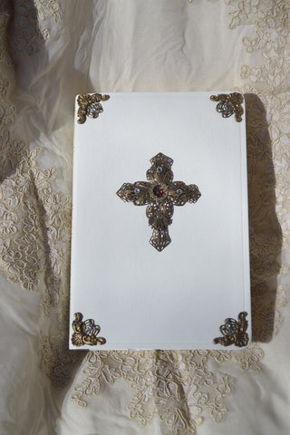 Personalized Jeweled Filigree Cross Bible - White-KJV