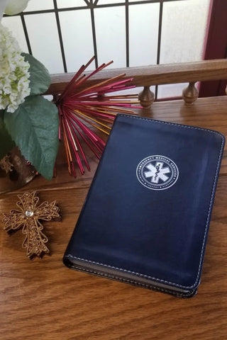 EMS Emergency Medical Services Compact Bible CSB, LeatherTouch - Color Navy