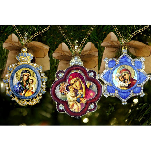 Set of 3 Asst Enameled Icon Ornaments
