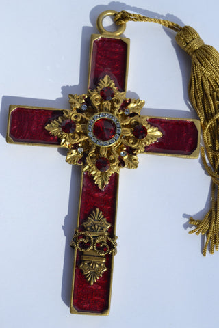 Hanging Cross with Tassel ~ Red and Gold Enameled