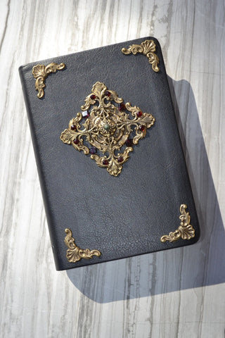NLT Jeweled Garnet Cross Compact Bible