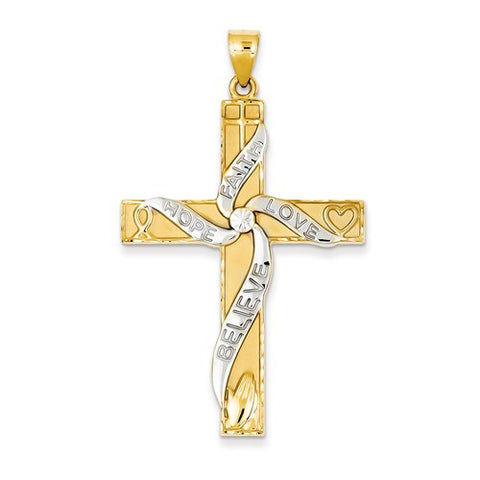 14K Gold & Rhodium Latin Cross Pendant Only