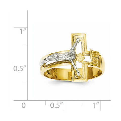14K Two-tone Crucifix Men's Ring Size 10 Only