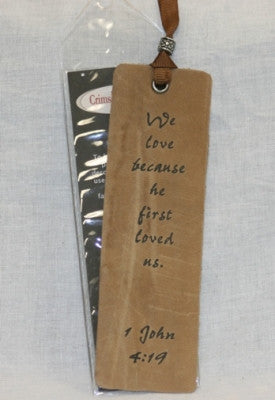 Leather Scripture Bookmarks 1 John 4:19