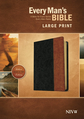 Every Man's Bible NIV, Large Print, Tutone Black/Brown Indexed
