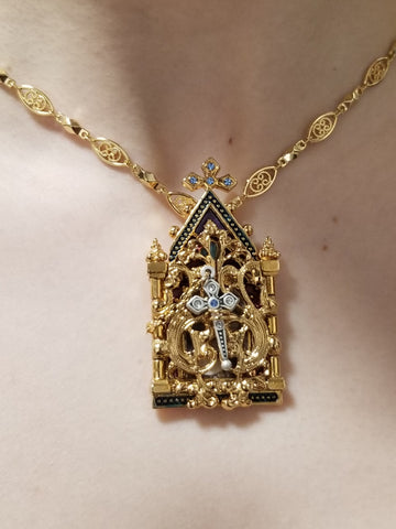 Gates of Heaven Necklace and Devotional Reliquary-14K Gold Plated