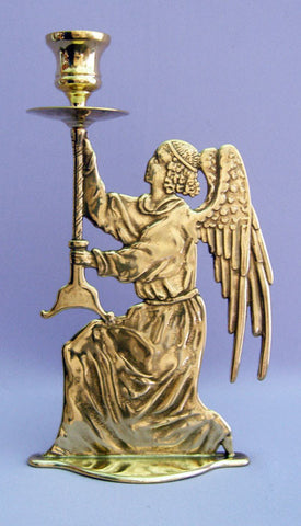 Angel Candle Holder, Shiny Brass, 9.75""