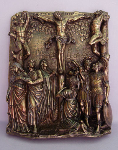 Bronzed Calvary Wall Plaque