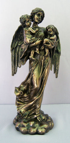 Guardian Angel with Children, Cold-Cast Bronze, Lightly Hand-Painted, 11""