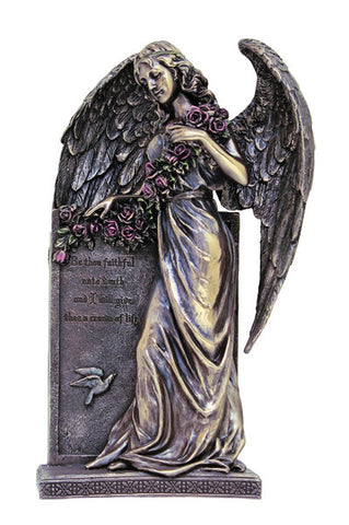 Sorrowful standing Angel,hand-painted cold cast bronze,10.5""