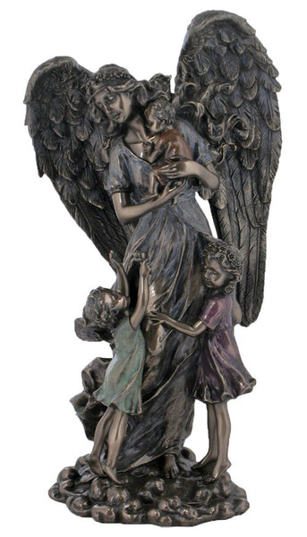 Guardian Angel with 3 children, lightly hand-painted, cold cast bronze, 11""