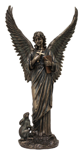 Angel with Cross & Book Statue 11""
