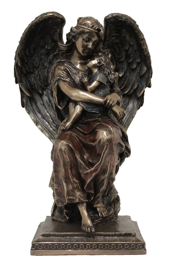 Guardian Angel With Child In Lap Cold Cast Bronze Lightly Hand