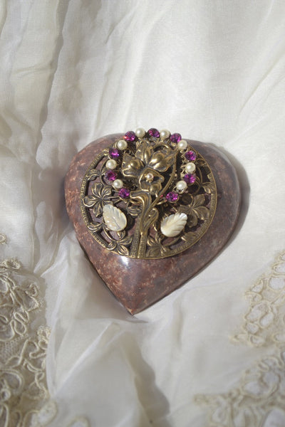 Heart Paperweight Flower - Magenta and Faux Pearl Stones