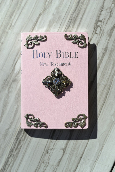 Tiny Baby Bible New Testament NIV Fluer De Lis French Cross-White, Blue, Pink