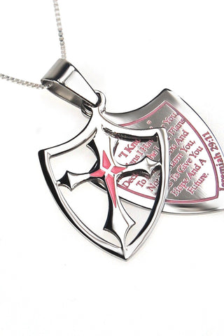 Pink 2 Piece Shield Cross I Know Necklace Jeremiah 29:11