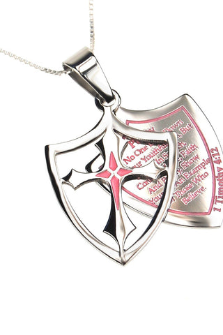 Pink 2 Piece Shield Cross Purity Necklace  1 Timothy 4:12