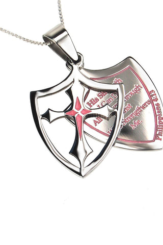 Pink 2 Piece Shield Cross His Strength Necklace Philippians 4:13