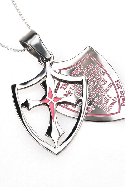Pink 2 Piece Shield Cross Fear& Necklace Psalm 27:1
