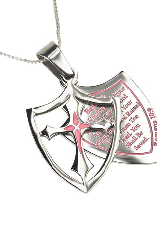 2 Piece Shield Cross Believe Necklace Romans 10:9 - Pink