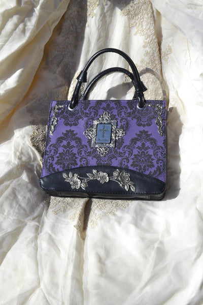 Purple Bible bag with Silver metal accents