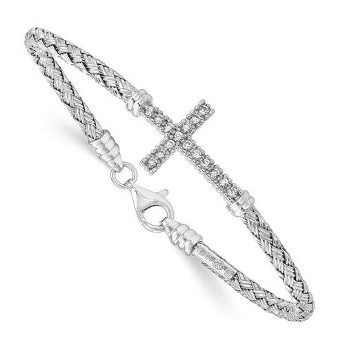 Sterling Silver Polished Rhodium-Plated CZ Italian Cross Bangle