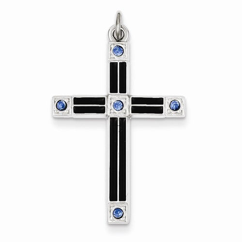 Sterling Silver  Enameled  & Blue CZ Cross Pendant