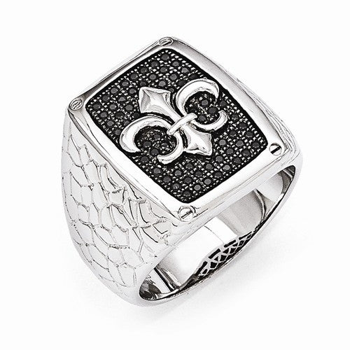 Sterling Silver & Black CZ Brilliant Embers Men's Ring