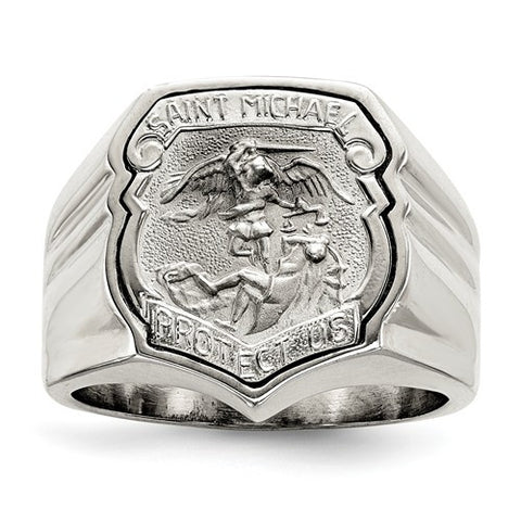 Sterling Silver Men's Saint Michael Ring