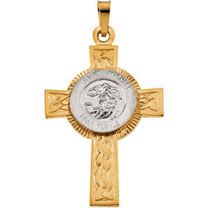 14K Yellow and White St. Michael Cross Pendant 28.5x20.75mm