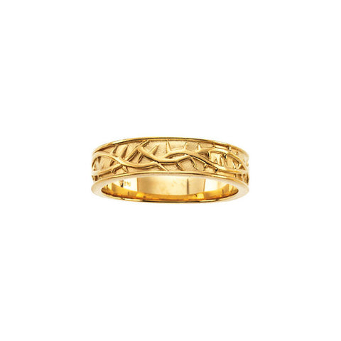 14K Yellow Thorn Design Band