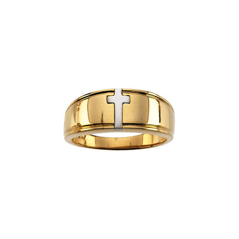 14K Yellow and White Gold Cross Ring Duo