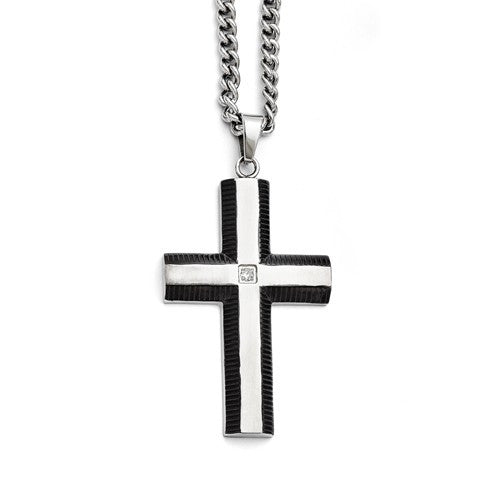 Stainless Steel Brushed and Polished Black IP-plated Cross with CZ Necklace