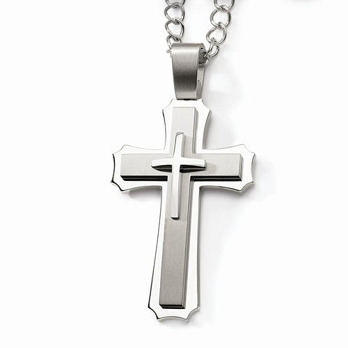 4 Inch Giant Size Stainless Steel 3-Layer Cross Pendant