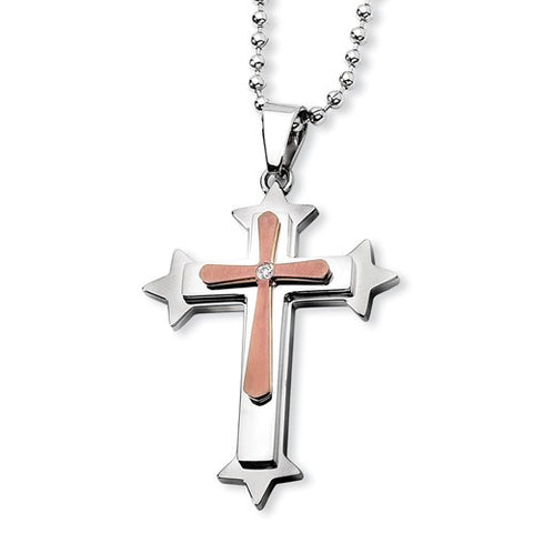 Stainless Steel and Brown Diamond Cross Pendant