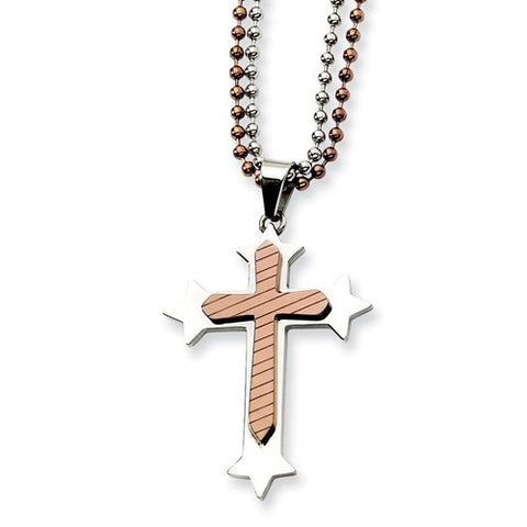 Stainless Steel and Brown Cross Pendant