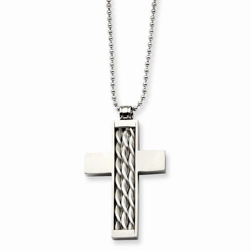 Stainless Steel Silver Inlay Cross Pendant~ Only 1 Left