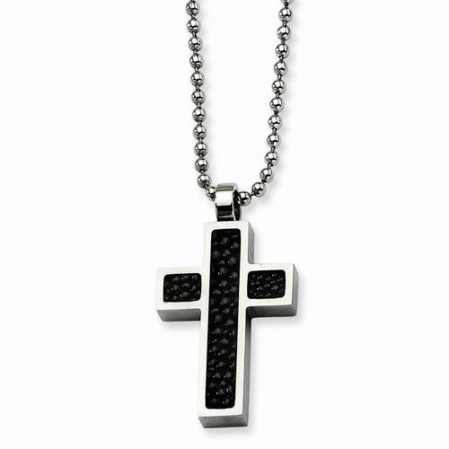 Stainless Steel Black Stingray Cross Pendant