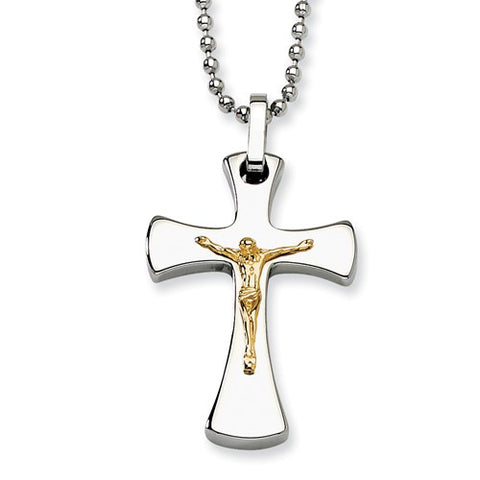 Two-Tone Steel and 14K Crucifix Cross Necklace -Curved