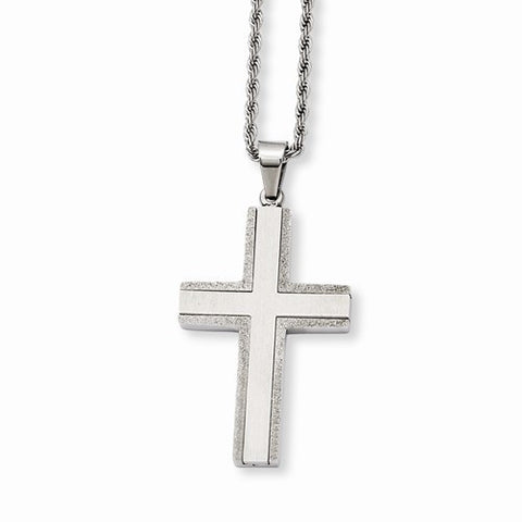 Stainless Steel Laser Cut Edges Cross Pendant Necklace