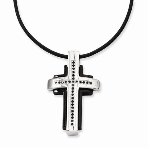 Stainless Steel Black-plated & Black Diamonds Cross Necklace