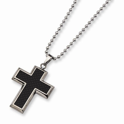 Titanium Black Carbon Fiber Thick Cross Pendant