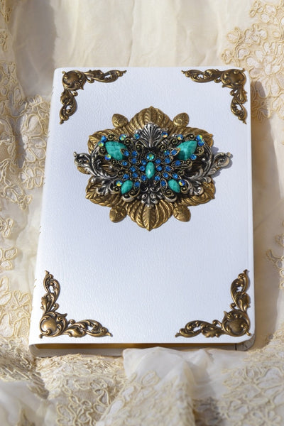 Jeweled Crystal Butterfly Personal Size Bible KJV-Turquoise