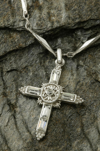 Elegant Crystal Cross Silver Necklace