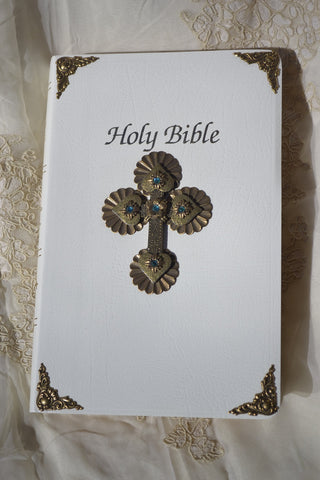 Jeweled Teal First Communion Bible - NAB White