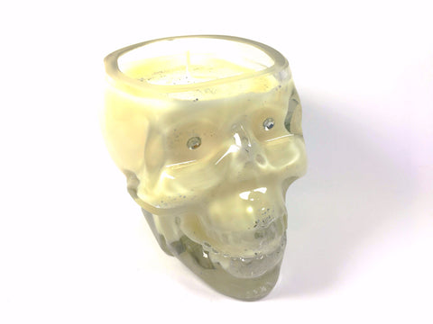 White Floral Bouquet Skull Candle