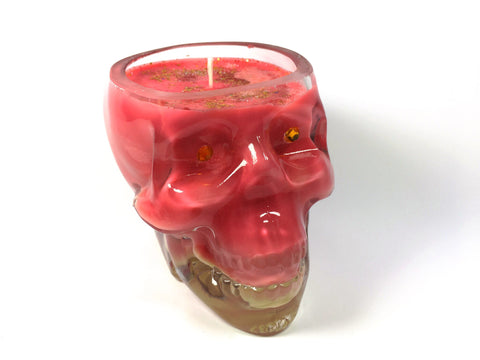 Rhubarb and Ginger Spritz Skull Candle